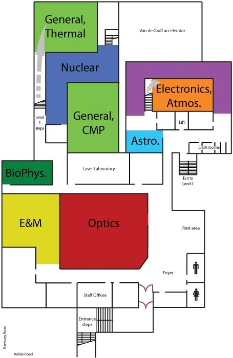 Floor plan for the Teaching Labs, DWB level 2
