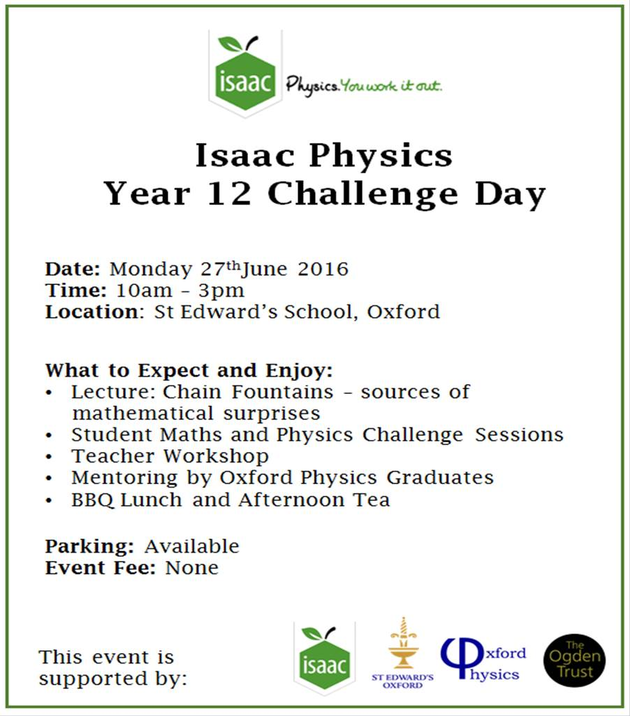 isaac physics year 12 problem solving event university of oxford we anticipate a busy challenging but above all an immensely fun day for all