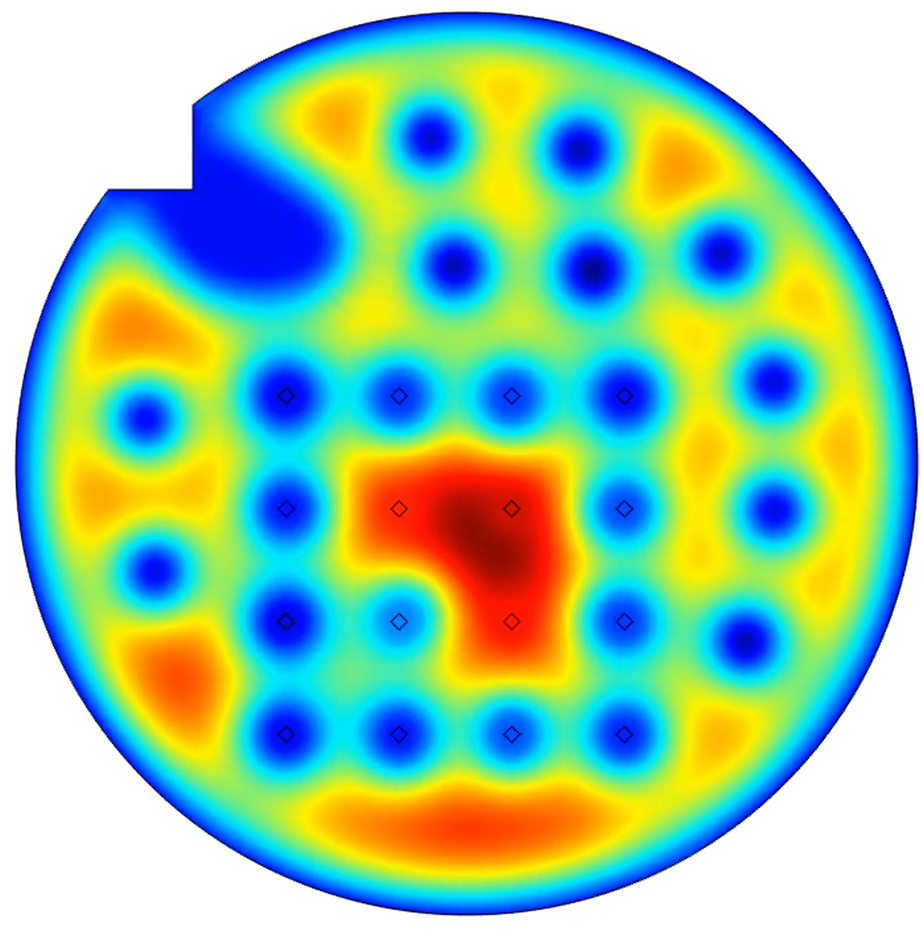 A still from the simulation showing defects pinning the magnetic field