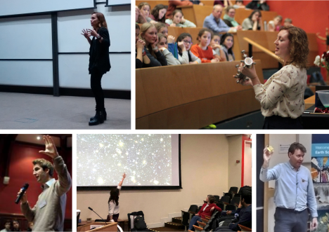 A collage of photos of speakers presenting to audiences