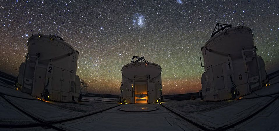 The night sky from ESO's Paranal Observatory in Chile showing the VLT Auxiliary Telescopes