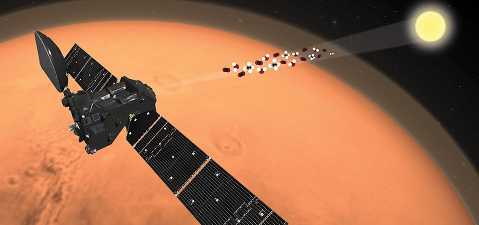 Artist's impression of the ExoMars Trace Gas Orbiter (TGO) analysing the martian atmosphere