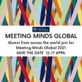 Colorful abstract background with a 'Save the date' message for the event of Meeting Minds Global on 12 to 17 April 2021