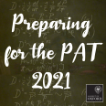 curly white writing on a blackboard that reads 'Preparing for the PAT 2021'