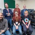 Researchers in the Vulcan control room at the Central Laser Facility, UKRI-STFC Rutherford Appleton Laboratory. Left to right, top: Dr Luke Ceurvorst (CELIA, Univ. Bordeaux), Mr Sam Claxton, Prof Peter Norreys. Left to right, bottom: Dr Ramy Aboushelbaya, Mr Robert Paddock and Mr Benjamin Spiers